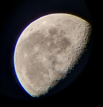Picture of the moon taken with my cellphone from a mm refractor My second ever attempt at astrophotography