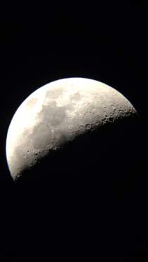 Picture of the moon using a camera phone and a telescope
