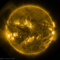 Picture of the sun taken by the SDO earlier today Look at the structures to the left