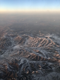 Picture taken from a plane while flying from Xian to Beijing