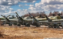 Pictures from the closed guarded site in the Leningrad region Russia where over sixty Mi helicopters removed from operation are stored today Album in comments