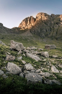 Pike Crags at Sunrise on the way up Scafell Pike Lake District