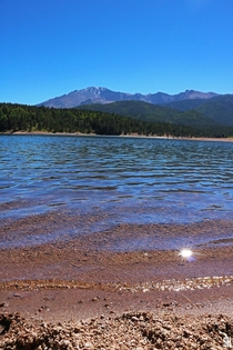 Pikes Peak from sparkling Crystal Lake Reservoir