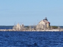 Pilot Island Lighthouse WI Light is automated but fog whistle building is abandoned