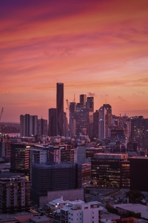 Pink hues over Brisbane Australia