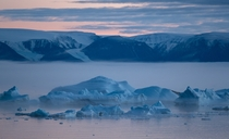 Pink skies glaciers feeding into the sea pale blue icebergs and majestic fog moving into the bay at sunset as seen from my window in the far north Qaanaaq Greenland