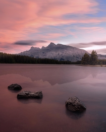 Pink skies over Two Jack Lake in Banff Alberta  IG coleyyc