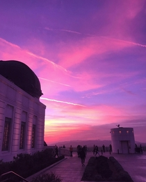 Pink sky I took a picture of exactly a year ago from the Griffith Observatory California US