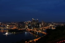 Pittsburgh PA cityscape at night from Mount Washington