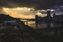 Pittsburgh PA with a splitting sky