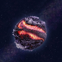 Planetary figure created using d modeling and a photograph of lava the rest drawn in photoshop
