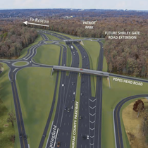 Planned triple roundabout interchange on Fairfax County Parkway at Popes Head Road- Virginia