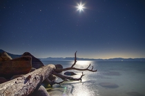 Playing with long-exposure  night-time Shot of Secret Cove  Lake Tahoe NV