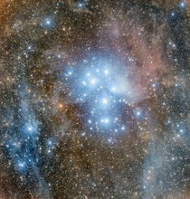 Pleiades or Seven Sisters open star cluster In Greek mythology the Pleiads were the seven daughters of Atlas a Titan who held up the sky and the oceanid Pleione protectress of sailing Adam Block