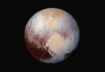 Pluto in Hi-Res False Color showing Compositional Differences