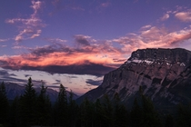 pm sunsets are weird Rundle Mountain Banff National Park Canada  Photographer Andrew Caitens