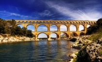 Pont du Gard an ancient Roman aqueduct bridge length m height m