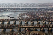 Pontoon bridges at the Maha Kumbh festival in Allahabad India