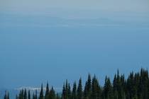 Port Angeles WA bottom and Victoria BC top as seen from Hurricane Ridge in Olympic National Park