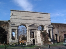 Porta Maggiore one of the eastern gates in the rd-century Aurelian Walls of Rome