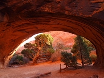 Porthole view of a magical landscape -- Navajo Arch Arches National Park UT OC