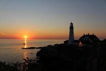 Portland Headlight in Maine at sunrise