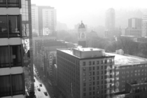 Portland OR Cold foggy morning