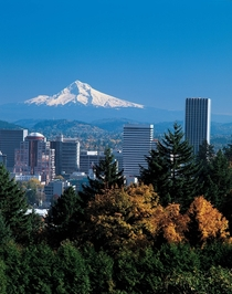 Portland Oregon under a floating Mount Hood