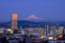 Portland Oregon with distant Mt Hood