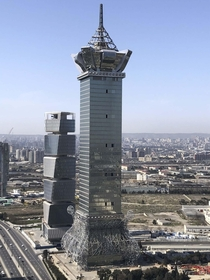Possibly one of the weirdest towers in the world Just finished construction in Baku Azerbaijan