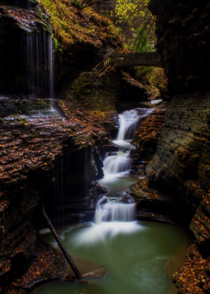 Possibly the most iconic waterfall in New York State Rainbow Falls Watkins Glen NY