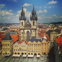 Prague Czech Republic from the top of the Old Town Hall