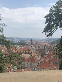 Prague Czech Republic view from balcony seating for lunch