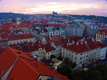Prague looking towards the Castle near dusk