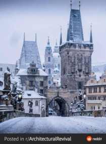 Praha Karlv most when it used to snow