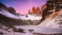 Pre-sunrise Glow Torres Del Paine Chile We battled  kmh winds at  in the morning to make the sunrise here It didnt disappoint   x  px