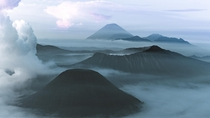 Pre-Sunrise views over the Tengger massif of East Java Indonesia