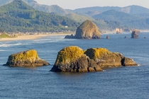 Pre-sunset view of Cannon Beach from Ecola State Park OR