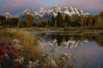 Predawn at Grand Tetons National Park Wyoming As seen from Schwabachers Landing