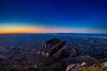 Predawn Light on Guadalupe Peak overlooking El Capitan