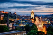 Princes Street amp Edinburgh Castle Blue Hour
