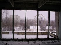 Pripyat amusement park as seen from the City Center Gymnasium The city of Pripyat has been abandoned since the Chernobyl disaster