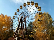 Pripyat Chernobyl Exclusion Zone - the iconic ferris wheel in the abandoned amusement park