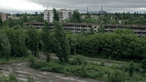 Pripyat Ukraine - Stormy late summer day in the abandoned street