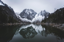 Pristine reflection at Colchuck lake WA
