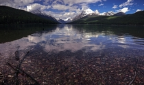 Pristine water at Bowman Lake MT Just one of the many lakes this clear in Glacier National Park  x