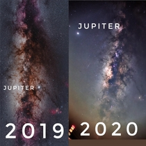 probably not an accurate comparison as both images werent taken around the same time but nice to see Jupiters change in position in the sky nearly a year apart