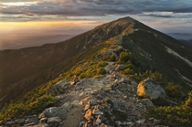 Probably the best photo Ive ever taken Franconia Ridge White Mountains New Hampshire at sunset After this was taken I camped right there sheltered by a boulder from the wind    OC