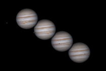 Progression of Jupiter over  hours