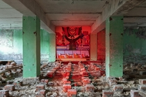 Propaganda mural in a an abandoned Soviet-era military base in the Chernobyl Exclusion Zone
